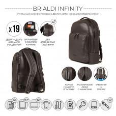 Мужской рюкзак с 2 автономными отделениями BRIALDI Infinity (Инфинити) relief brown в магазине Galantmaster.ru фото