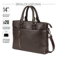 Функциональная мужская деловая сумка BRIALDI Virginia (Вирджиния) relief brown