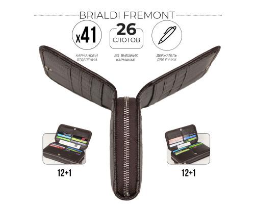 Мужской клатч с 41 карманом и отделом BRIALDI Fremont (Фримонт) relief brown