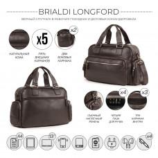 Вместительная деловая сумка BRIALDI Longford (Лонгфорд) relief brown
