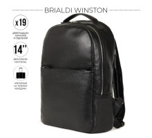 Стильный деловой рюкзак с 19 карманами и отделениями BRIALDI Winston (Винстон) relief black
