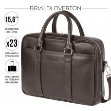 Функциональная мужская деловая сумка BRIALDI Overton (Эвертон) relief brown в магазине Galantmaster.ru фото