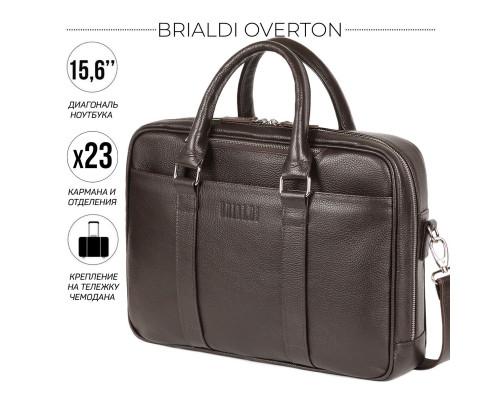 Функциональная мужская деловая сумка BRIALDI Overton (Эвертон) relief brown