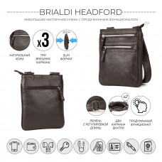 Кожаная сумка через плечо BRIALDI Headford (Хедфорд) relief brown в магазине Galantmaster.ru фото