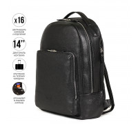 Мужской рюкзак с 16 карманами и отделениями BRIALDI Discovery (Дискавери) relief black BR35527OK