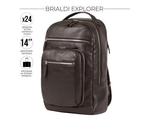 Деловой рюкзак BRIALDI Explorer (Эксплорер) relief brown
