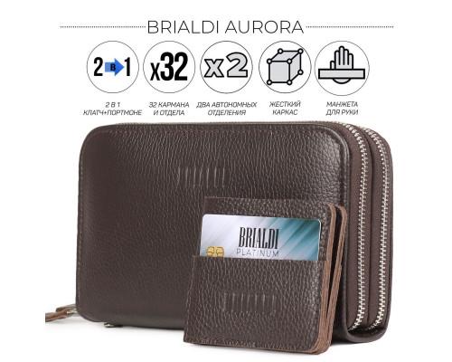 Мультиклатч с двумя отделениями 2-В-1 BRIALDI Aurora (Аврора) relief brown